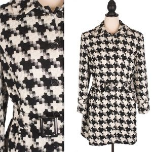 Black and White Houndstooth Wool Blend Belted Coat